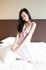 Ribbon Lace V Sleep Dress (Pink)