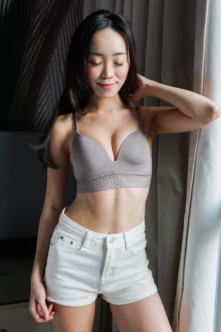 Lace Detail T-Shirt Bra (Grey)
