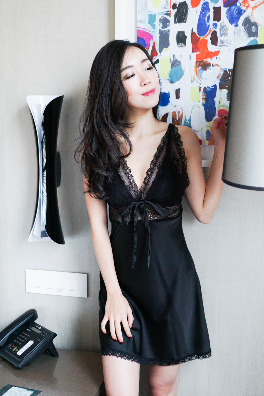 Ribbon Lace V Sleep Dress (Black)