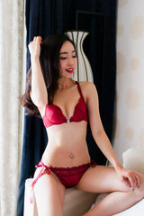 Front Clasp Lace Bra Set (Maroon)