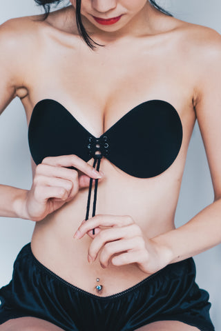 Lace Push Up Stick On Bra (Black)