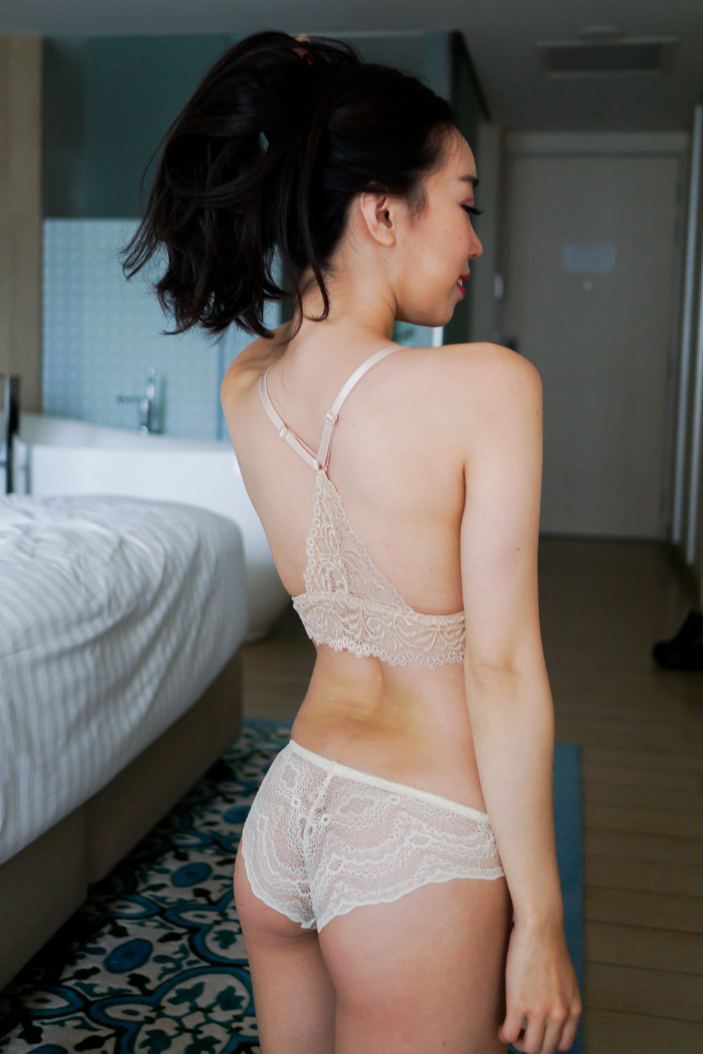 V Back Triangle Lace Bralette (Nude)