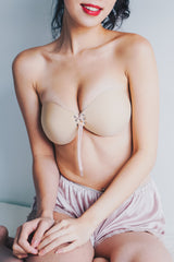 Lace Push Up Stick On Bra (Nude)