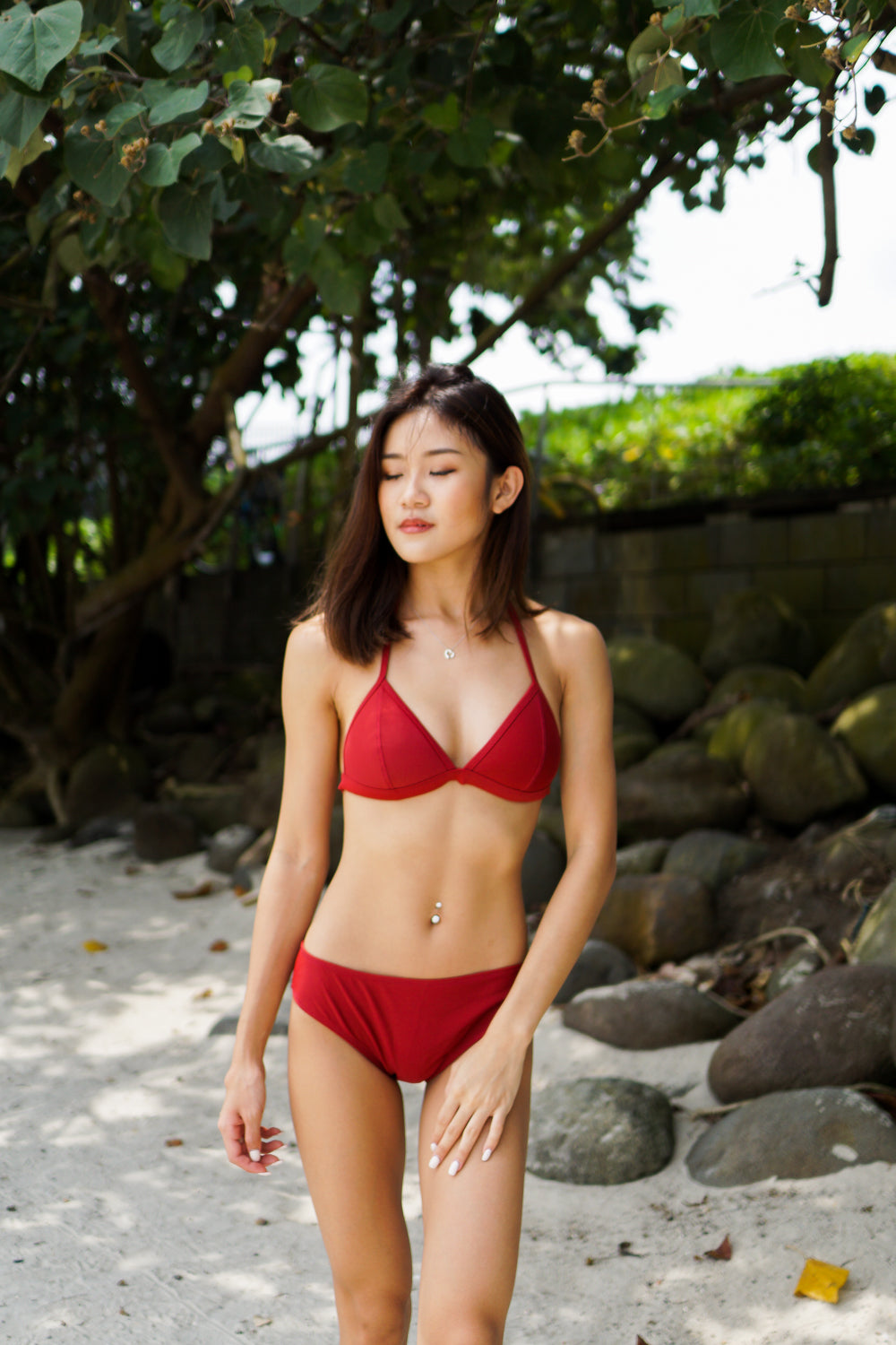 Outline Triangle Bikini (Maroon)