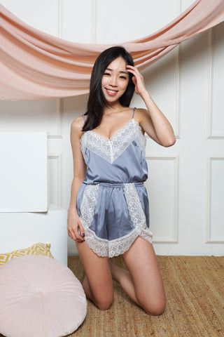 Curve Lace Satin 2pcs Set (Periwinkle)