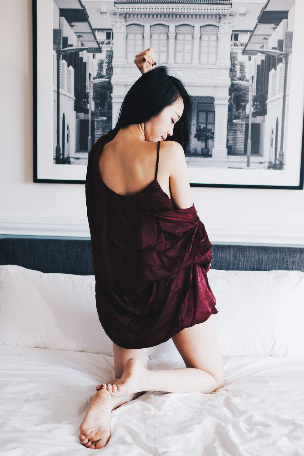 Luxe Satin Loungewear 3pcs Set (Maroon)