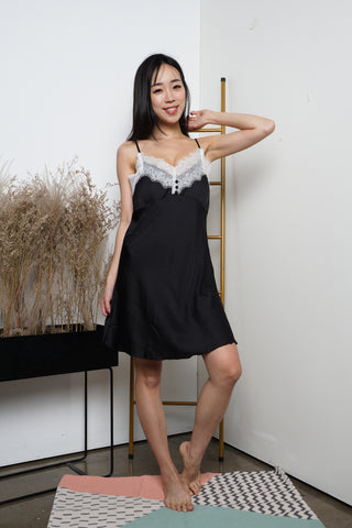 Tisha Lace Sleep Dress (Black)
