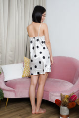 Polka Lace Sleep Dress (White)