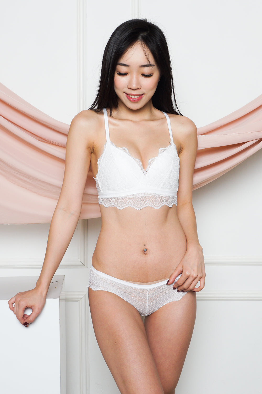 Accadia Wireless Lace Bra Set (White)
