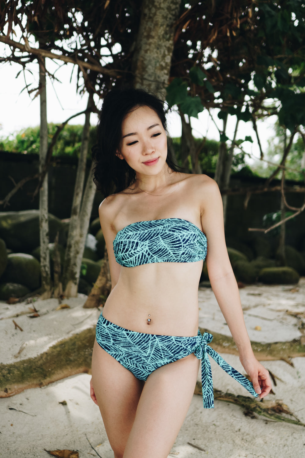 Tie Back Bandeau Bikini (Abstract Leaves)