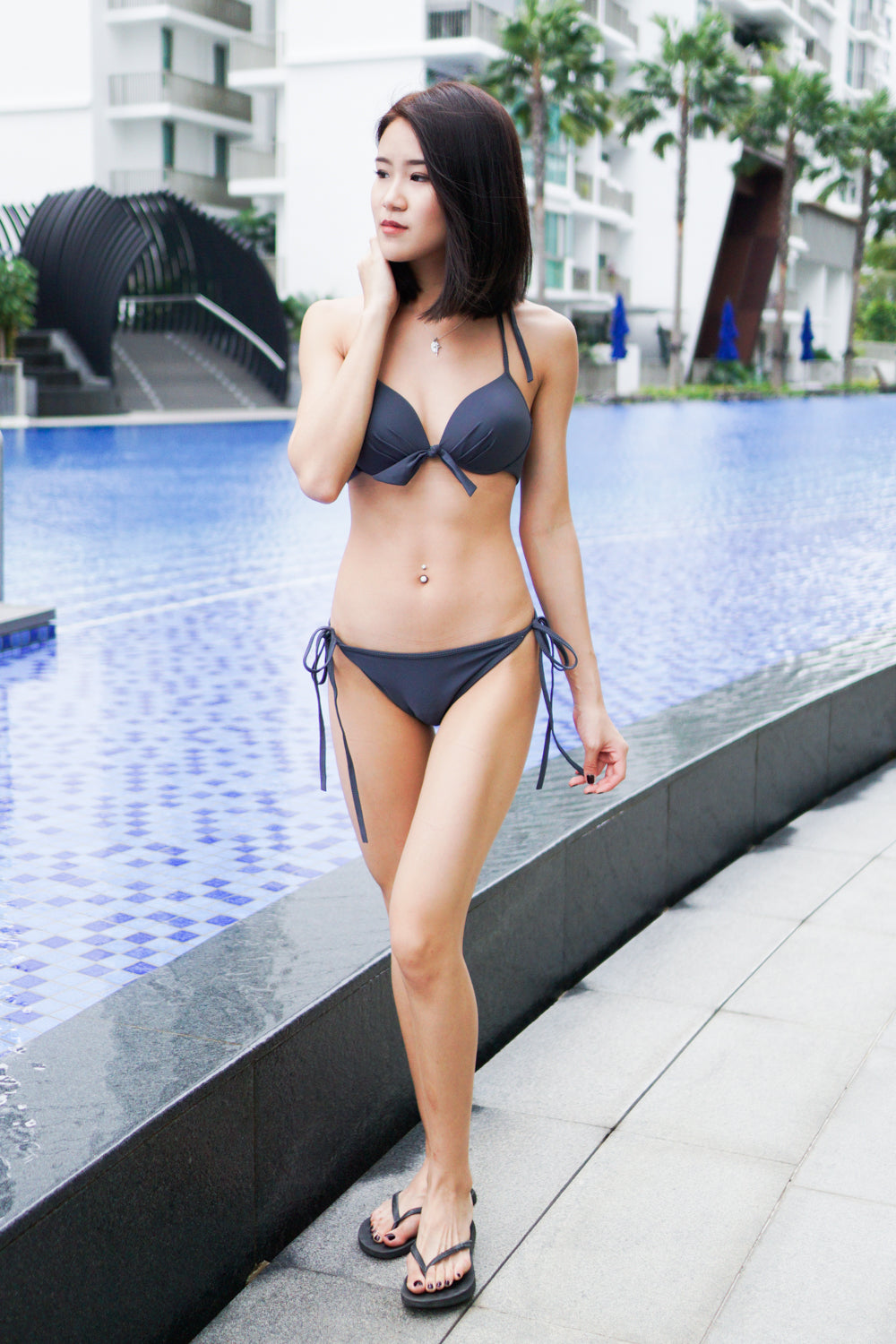 Basic Ribbon Bikini (Dark Grey)