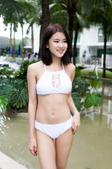 Crochet High Neck Bikini (White)