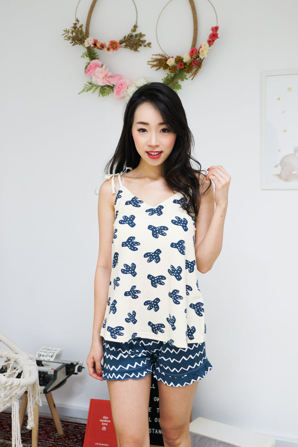 Cotton Ribbon Tie PJ Set (Cactus)