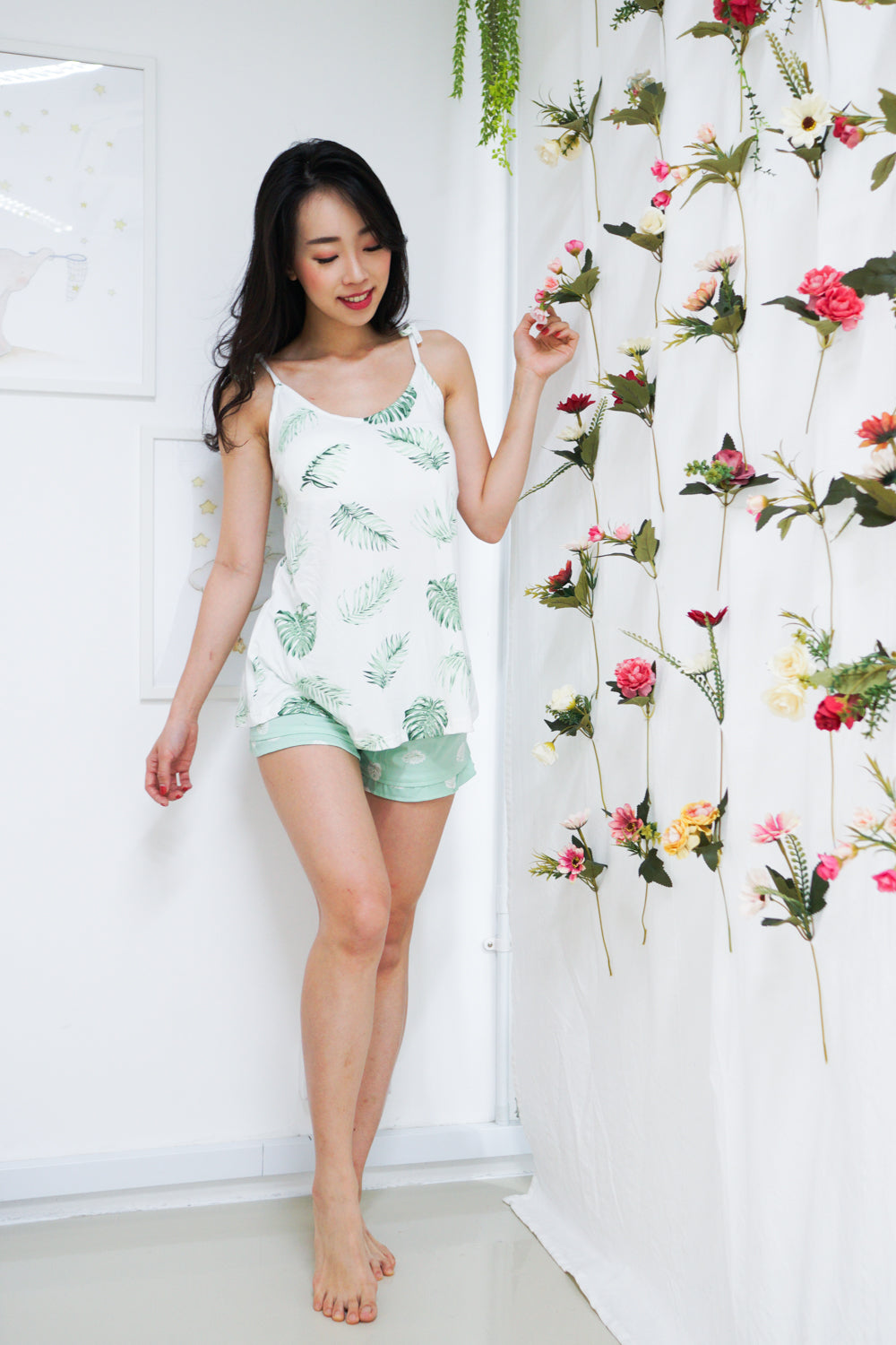 Cotton Ribbon Tie PJ Set (Palm Leaves)