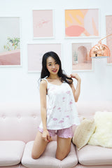 Cotton Ribbon Tie PJ Set (Flamingo)