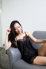 Back Lacey 2pcs Loungewear Set (Black)