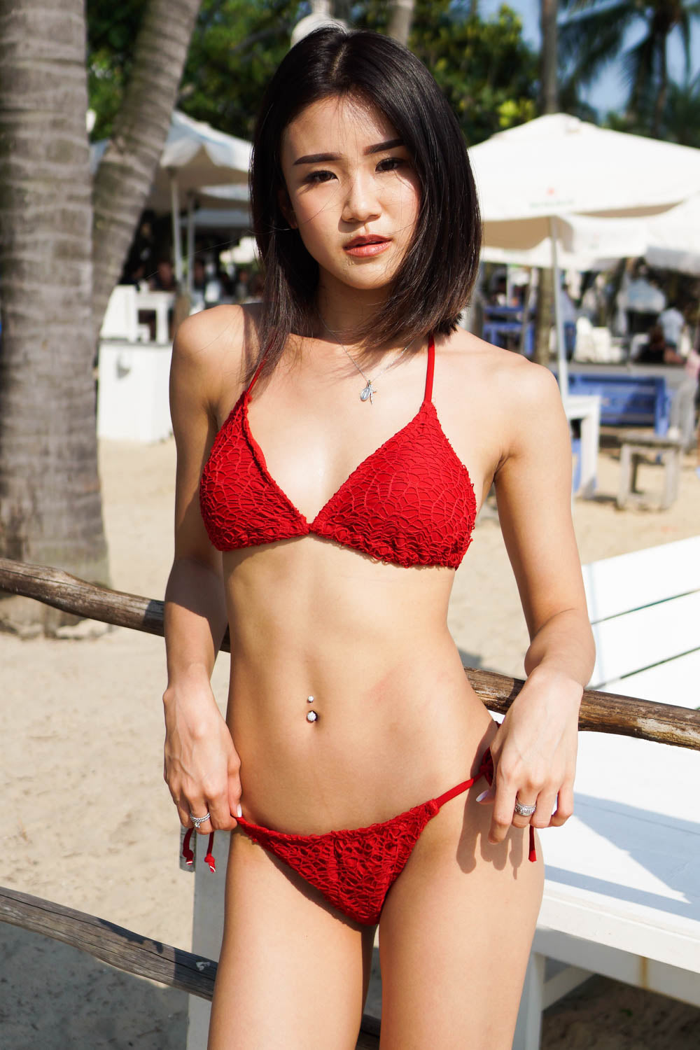 Crochet Triangle Bikini (Red)