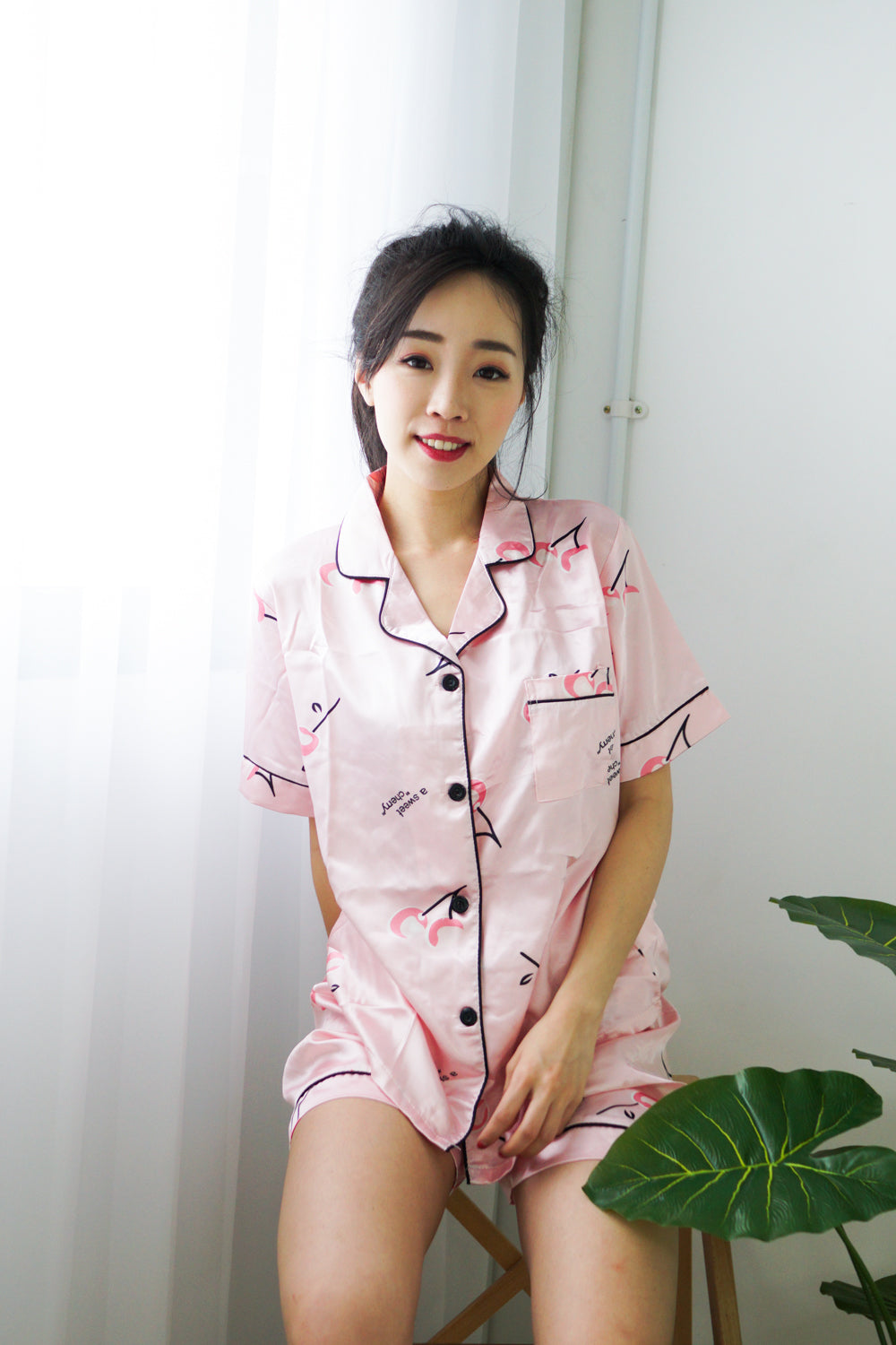 Satin Buttons PJ Set (Pink Cherry)