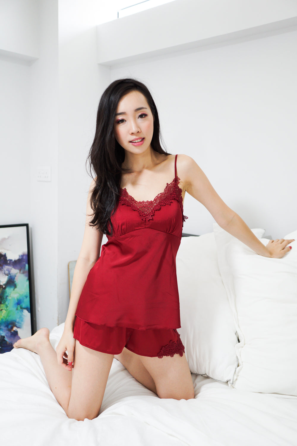 Crochet Trim 2pcs Loungewear Set (Maroon)
