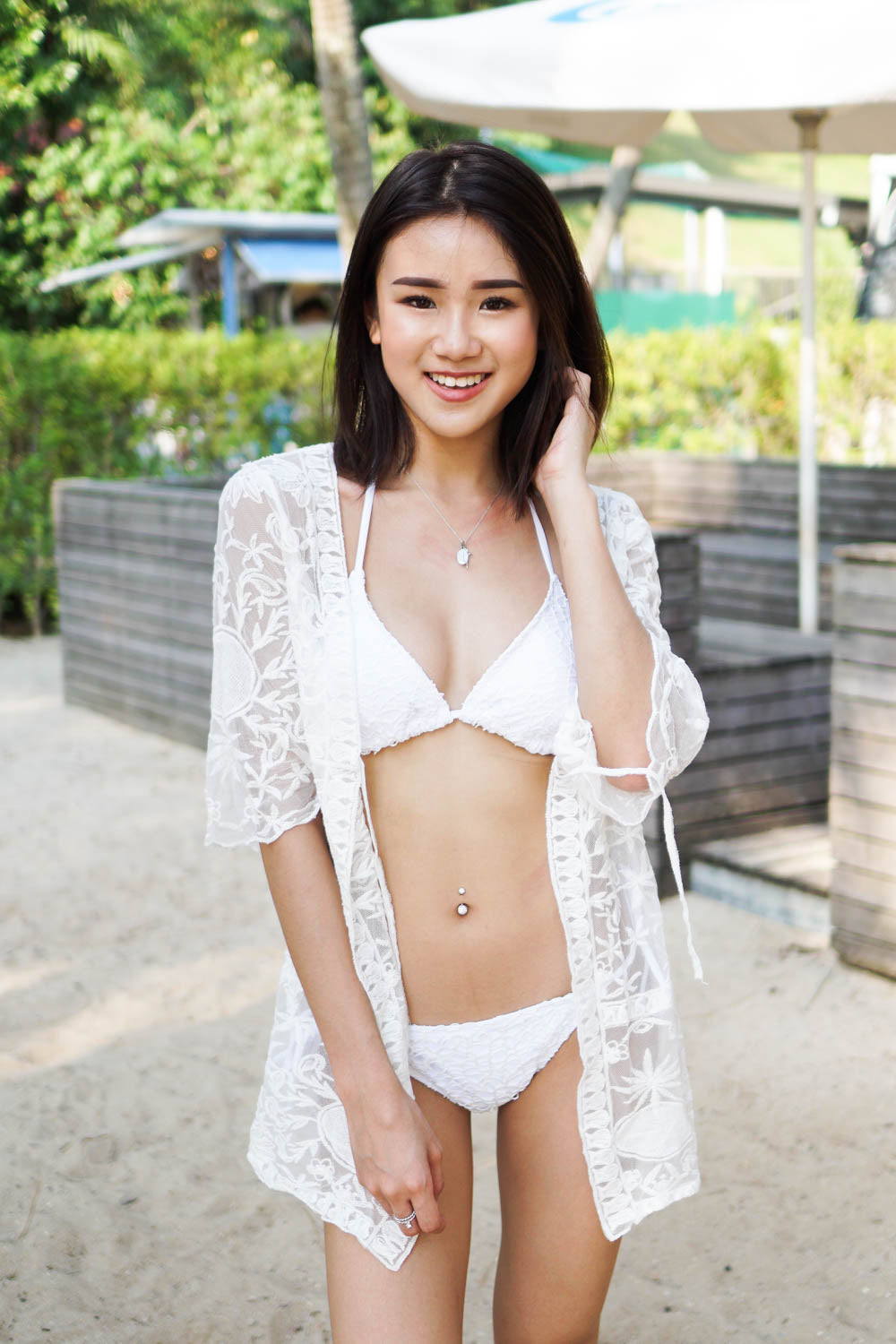 Crochet Triangle Bikini (White)