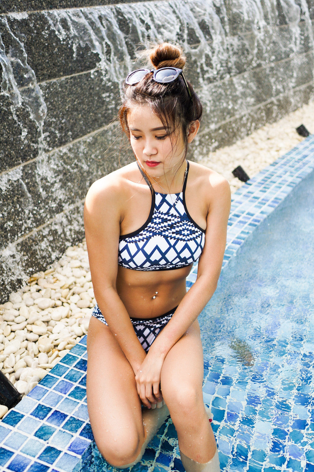 Geometrical High Neck Bikini