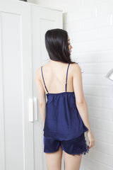 Crochet Trim 2pcs Loungewear Set (Navy)