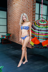 2way Brazilian Bikini (Blue Geometrical)