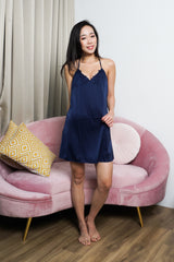 Triple Strap Back Sleep Dress (Navy)