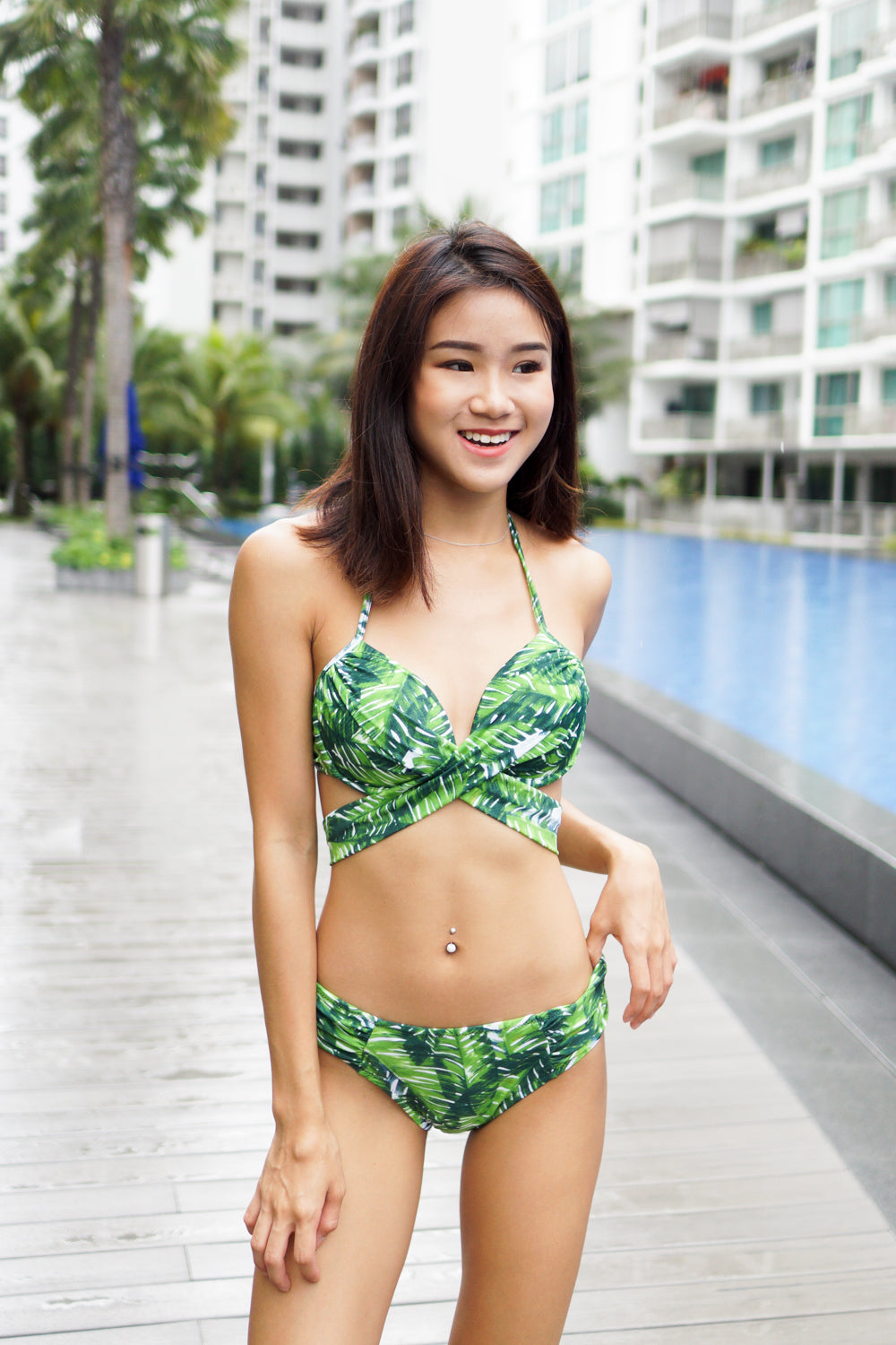 Cross Wrap Bikini (Green Leaves)