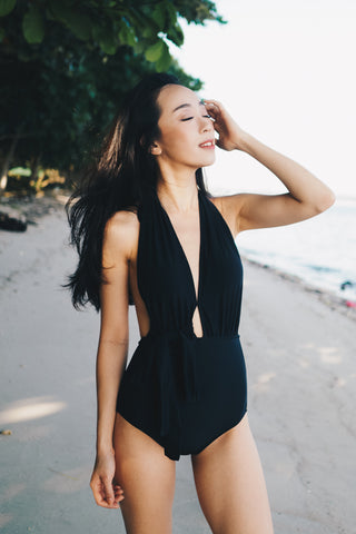 Bare Back Ribbon Monokini (Black)