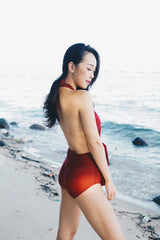 Bare Back Ribbon Monokini (Maroon)
