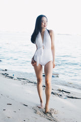 Bare Back Ribbon Monokini (White)