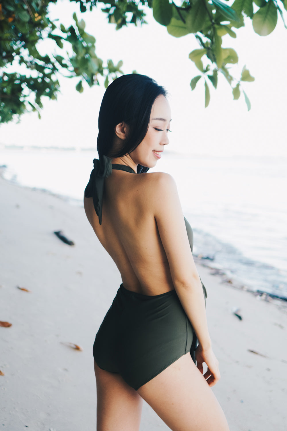 Bare Back Ribbon Monokini (Olive)