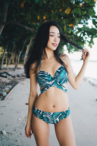 Cross Wrap Bikini (Palm Leaves)