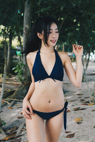 Ribbon V Neck Bikini (Navy)