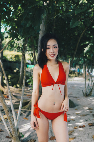 Ribbon V Neck Bikini (Red)