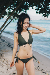 Ribbon V Neck Bikini (Olive)