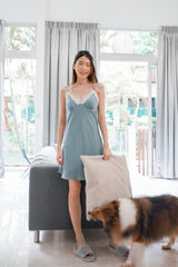 Sarah Lace V Sleep Dress (Grey-Blue)