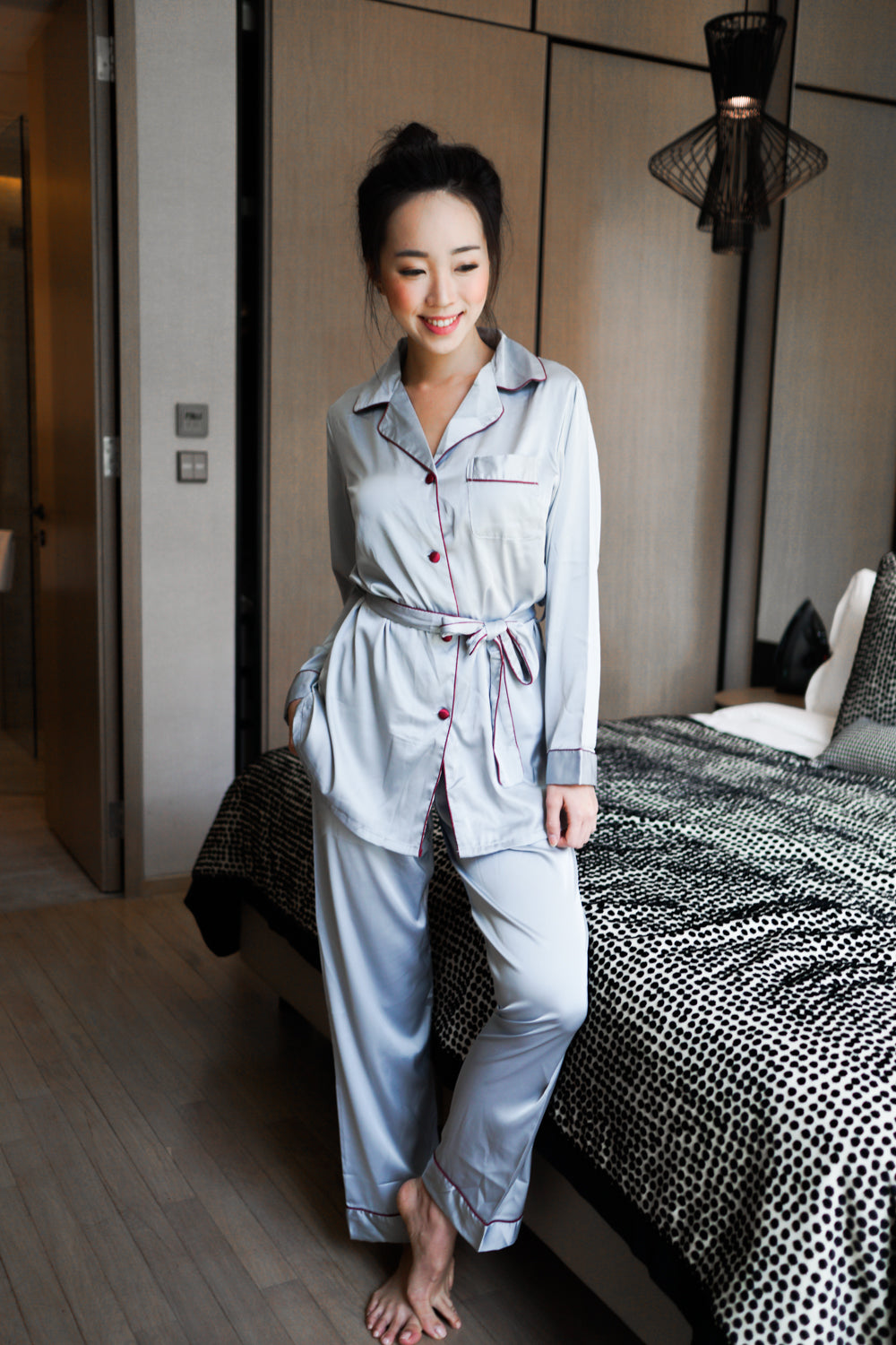Outline Buttons L/S Pyjamas (Grey)