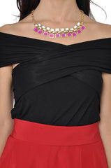 Candy Square Necklace (Fuchsia) -  - 3
