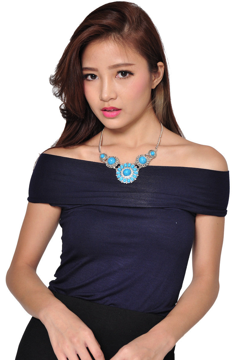 Sunstone Necklace (Blue) -  - 1