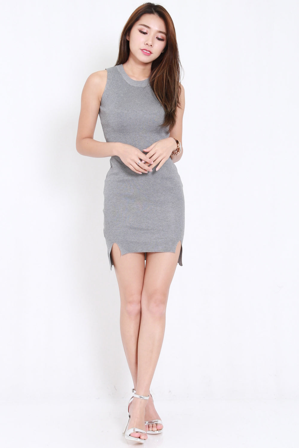 Double Slit Knit Dress (Grey)