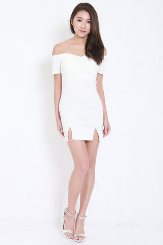 Double Slit Off Shoulder Dress (White) -  - 2