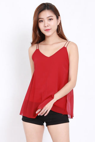Double Strap Chiffon Top (Red)