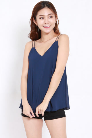 Double Strap Chiffon Top (Navy)