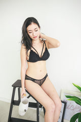 Double Strap Lace Bralette (Black)