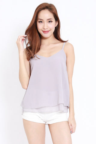 Duo Layer Chiffon Top (Grey)