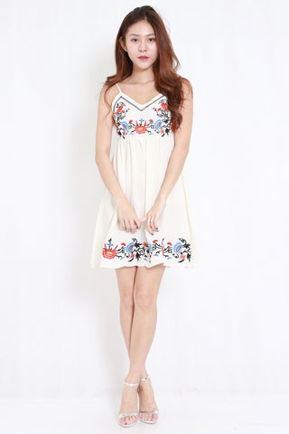 5bdcf3b49 Embroidered Babydoll Spag Dress (Cream)