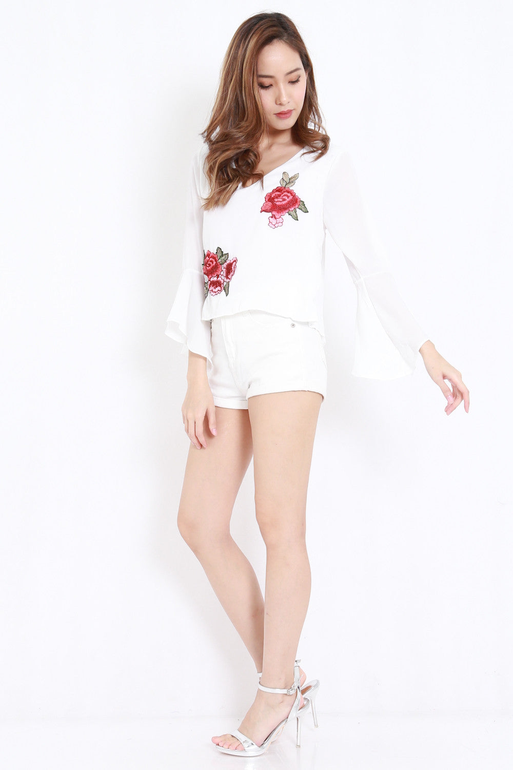 Embroidered Bell Sleeved Shirt (White)