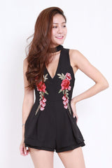 Embroidered Choker Romper (Black)